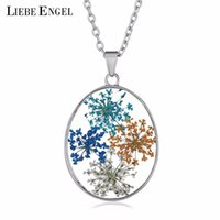 Wholesale surprise gift for girls for sale - LIEBE ENGEL Vintage Colorful Dried Flowers Decoration Necklace Resin Oval Pendant Necklace Sweater Chain For Girls Surprise Gift