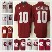 Wholesale American Football College Jerseys - 2018 NCAA Throwback men American College 42 Eddie Lacy 10 AJ McCarron football shirts College Football Stitched Jersey