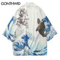 Wholesale japanese man s kimono online - GONTHWID Japanese Crane Printed Kimono Cardigan Jackets Mens Japan Style Sleeve Casual Streetwear Coats Fashion Outwear