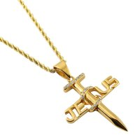 Wholesale white nail designs rhinestones online - Fashion Men Boys Nail Cross Pendant Necklaces Punk Stainless Steel Jewelry Cool Sport Men Gold Color Rhinestone Design Accessories Gift