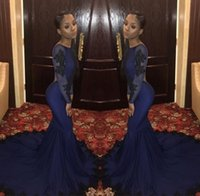 Wholesale fancy apples - African Mermaid Prom Dresses 2019 Lace Boat Neckline Evening Gowns Tulle Appliques Open Back Long Sleeves Elegant Fancy Pageant Dress