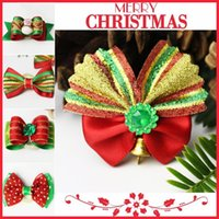 ingrosso allegre campane di natale-New Creative Merry Christmas Bow Piccola campana Fiore Fiore Cravatte Poodle Puppy Head Ornaments Cat Ties Pet Grooming Supplies 1 2aw aa