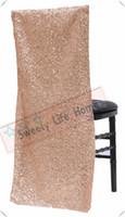 ingrosso tappi per banchetti-Nuovi prodotti Coprisedili chiavari con paillettes / Glitz Coprisedili per banchetto per feste Eventi Paralume per sedia in oro rosa