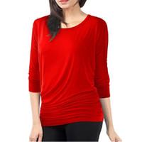 uzun tişört artı boyutu toptan satış-Moda Kadın T-Shirt Gevşek Uzun Kollu Batwing Dolman Tunik Tişört Siyah Kırmızı Artı Boyutu S-3XL Tops