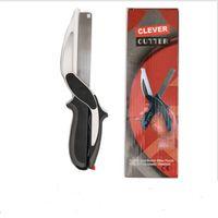 tablas afiladas al por mayor-Clever Cutter 2 en 1 tijera de cocina de acero inoxidable con cuchilla afilada cuchilla de corte cortador de comida para carne vegetal
