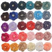 corsage para a cabeça venda por atacado-30 cores Do Bebê Meninas 3 polegada (7.5 cm) Tecido Chiffon Flores Para DIY headbands DIY corsage Kid DIY Acessórios de Estilo de Cabelo Headwear