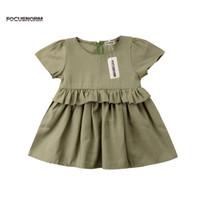 vestidos verdes lisos al por mayor-2018 summer solid kids dress Una línea de plisado de moda Baby Girls manga corta O Neck lindo llanura verde sundress infantil Ruffles