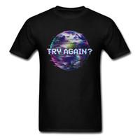 diseños modernos de la camiseta al por mayor-¿Inténtalo de nuevo? Humanity Glitch Earth Diseño moderno de los hombres T-shirt Tops negros de gran tamaño de manga corta Tees de algodón