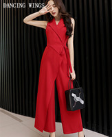 80a54356d05f Sleeveless Red Lace Up Jumpsuits Women Summer Loose Big Size Wide Leg Pants  High Waist Ankle Length Trousers