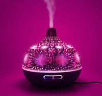 Wholesale aromatherapy scent diffuser resale online - 3D Realistic Fireworks Aroma Essential Oil Diffuser Air Ultrasonic Humidifier for Home Aromatherapy Fogger Mist Maker with Light