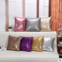 fundas de almohada de lentejuelas al por mayor-Funda de cojín Glitter Sequin Throw Pillow Cases Cafe Fundas de cojín Asiento de coche Throw Funda de almohada 40cmX40cm Funda de almohada de calidad superior