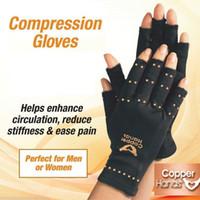 guantes de mano de nylon al por mayor-HIRIGIN Cuidado de la salud Guantes de fibra de cobre Anti Artritis Manos Terapia de cobre Guantes de compresión Dolor Alivio del dolor