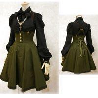 cosplay viktorianische kleider großhandel-Sexy Frauen Victorian Gothic Hosenträger Rock Zurück Lace Up Kleid Halloween Cosplay