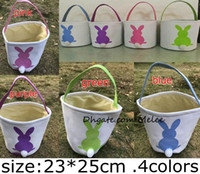 Wholesale Rabbit Print Bag - INS Burlap Easter Bunny Baskets DIY Rabbit Bags Bunny Storage Bag Jute Rabbit Ears Basket Easter Gift Bag Rabbit Ears Put Easter Eggs