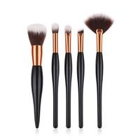 saç rengini idare etmek toptan satış-5 adet / takım Makyaj Fırçalar Set Ahşap Saplı Siyah Altın Lüks Renk Profesyonel Kozmetik Set Kiti Yumuşak Sentetik Saç T05023