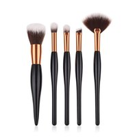 ingrosso maneggiare il colore dei capelli-5pcs / set Set di pennelli per trucco Manico in legno Nero Golden Luxury Color Set di cosmetici professionali Kit Morbidi capelli sintetici T05023