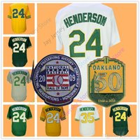 Wholesale Vintage Jersey Baseball - Rickey Henderson Jersey with 50th & 2009 Hall Of Fame Patch 24 35 Oakland Jerseys Flexbase Cool Base Throwback Vintage