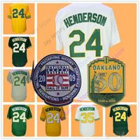 Wholesale Henderson Baseball - Rickey Henderson Jersey with 50th & 2009 Hall Of Fame Patch 24 35 Oakland Jerseys Flexbase Cool Base Vintage