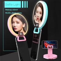 selbstbedienung für handy großhandel-Multifunktionsfülllicht-Make-upspiegel RK16 Selfie füllen Ring-Licht-Fotografie-Lampen-Handy Stents mit Kleinpaket
