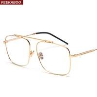 óculos óculos designer óculos para homens venda por atacado-Peekaboo quadrado óculos de armação de metal mulheres de ouro 2018 designer de marca flat top grande óculos de armação óptica homens unisex