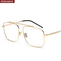 большие квадратные очки оптовых-Peekaboo square glasses frame women gold metal 2018  designer flat top big eyeglasses optical frame men unisex
