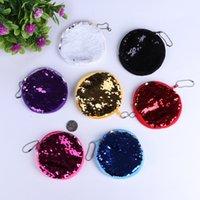 Wholesale Purple Glitter Purse - Round Women Handbag Wallet Evening Clutch Bag Reversible Sequins Purse Glitter Mermaid Storage Bag Jewelry Organizer Pouch Case