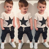 Wholesale baby clothing harem set for sale - Group buy Newborn fashion toddlers kids baby boys stars T shirt tops harem pants set outfits clothes set