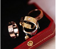Wholesale ring box lover - Luxury brand C designer Wedding Rings 316L Stainless steel LOVE Diamond rings WITH Red BOX lovers wedding couple Rings for Women and Men