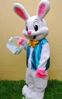 traje de la mascota del conejo de conejito de pascua al por mayor-2018 Traje de la mascota caliente de alta calidad Adulto conejito de pascua traje de la mascota conejo de dibujos animados de lujo