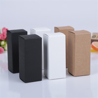 Wholesale White Paper Wrap - 10 size Black white Kraft Paper cardboard box Lipstick Cosmetic Perfume Bottle Kraft Paper Box Essential Oil Packaging Box LZ1416