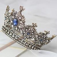 tiaras del desfile de la vendimia al por mayor-Chic Vintage Royal Blue Jewelry Coronas para Mujeres Tiaras Nupcial Cristales Accesorios para el Cabello Niñas Concurso Fiesta Tocado
