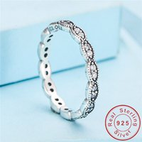 Wholesale matching wedding rings - Women Match Band ring Genuine 925 Sterling silver rings Diamonique Cz Engagement wedding ring for women Flower jewelry