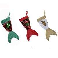 boncuk dekorasyon yılbaşı toptan satış-Stoktaki ürünler Moda Noel süslemeleri 16 inç Balık kuyruğu saygısız Boncuk parça çorap Noel çorap hediye çantası T7I144