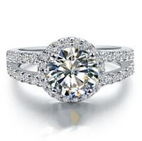 14k gold simulierte diamantringe großhandel-Echt 14 Karat Weißgold Ring Engagement Mikro Gepflasterte Hochzeitsband 1CT Ausgezeichnete Runde Simulieren Diamant Semi Mount AU585 Halo Stil S923
