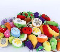 Wholesale finger fruits vegetables toys resale online - Gift Pendant Toys variety of Fruits Vegetables Dolls Apple Banana Orange Plush Pendant Wedding Throwing Event Gifts cm Mixed