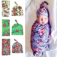 Wholesale boys thermal hat resale online - Newborn fashion baby swaddle blanket baby sleeping swaddle muslin wrap hat baby blanket hat set infant photograph props colors