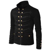 abrigo gótico de moda al por mayor-Otoño invierno chaqueta de los hombres de moda gótico desfile Rock negro Steampunk ejército escudo hombres túnica informal prendas de vestir exteriores más tamaño