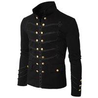 erkekler siyah kaplamaları toptan satış-Sonbahar Kış erkek Moda Gotik Parade Ceket Kaya Siyah Steampunk Ordu Ceket Erkekler Rahat Tunik Giyim Artı Boyutu