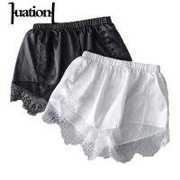 Wholesale Thin Underwear Women Pants - Wholesale-Huation Summer Women Safety Pants White Silk Lace Seamless Thin Shorts Underwear Anti-light Black Outwear Safety Short Pants