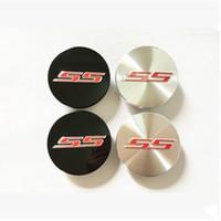 Wholesale chevrolet emblems badges - 67mm Chevrolet SS Logo camaro wheel center caps Black silver Car ABS Alloy Rim Hub badges emblem 9595010