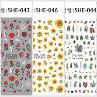 florete de flores al por mayor-1 Hoja Hermosa Rosa Margarita Floret Flores Hojas Diseño Adhesivo Nail Art Stickers Decoraciones Consejos DIY SHE37-52 #