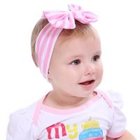 ingrosso vendita turbanti per bambini-Vendita calda Neonata Fascia a righe Fascia per bambini Turbante a maglia Accessori per capelli Bambini Copricapo a croce