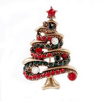 Wholesale christmas tree decorations luxury - Wholesale Exquisite 3 Colors Christmas tree Rhinestone Brooches Badge Metal Enamel Pin Women Luxury Jewelry Party Decoration