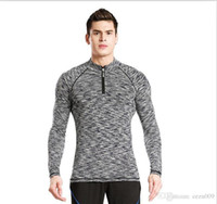 nefes alabilen uzun kollu gömlekler toptan satış-Spor takım elbise erkek uzun kollu tayt erkek spor spor giyim nefes gömlek