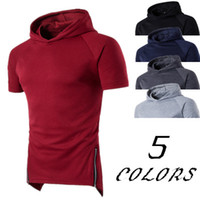 Wholesale Men Raglan Shirts - Men Raglan Hooded Longline Top Summer Sport Style Design Male Solid Hooded Loose T Shirt Large Size Casual Wear