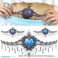 tatouage à la taille achat en gros de-24X13.8cm Corps Guirlande Sexy tatuagem Taty Body Art Tatouage Temporaire Dentelle Noire Bleu Diamant Taille Cercle Tatoo Autocollant Tatuajes