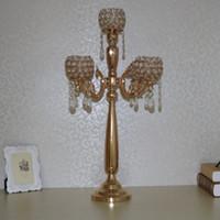 Wholesale crystal wedding candelabra wholesale - Luxury Wedding crystal 5 arm Candle holders Crystal candle sticker Table Centerpiece wedding candelabra party supply