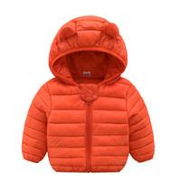 bebek kızları katlar toptan satış-Bebek erkek kız sıcak ceket kış kapüşonlu sevimli giysi Çocuk Giyim çocuk nokta giyim bebek kız mont