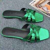 Wholesale Hot Chocolate Candy - 2018 Women Candy Color Summer Brand Slides Genuine Leather Fashion Slippers Outdoor Mules Flats Hot Sale Luxury Designer Lazy Loafers S807