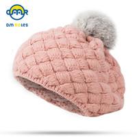 ingrosso cappello di berretto da maglia della neonata-DMROLES 2018 New Baby Winter Hat Knit Crochet Baby Beret Girl Cap per bambini Coon Warm Cap Carino Warm Kid Beanie Unisex